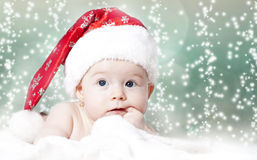 Baby with Santa hat Stock Photography
