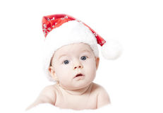 Baby with Santa hat Stock Photos