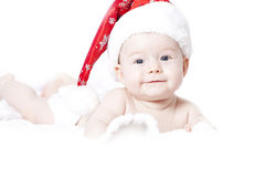 Baby with Santa hat Stock Photo