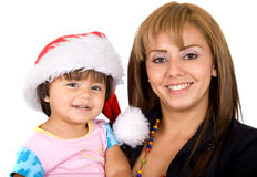 Baby santa and her mum Stock Image