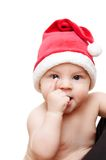 Baby in santa's cap. On white background Stock Images