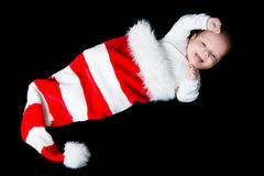Baby in Santa's hat Stock Image