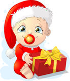Baby santa. Small baby in Santa costume on a white background Stock Photography