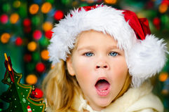 Baby Santa surprising Stock Photos