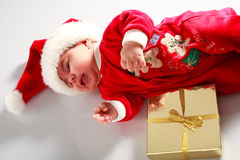 Baby in santa wear Royalty Free Stock Photo