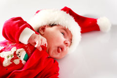 Baby in santa wear Stock Photos
