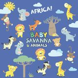 Baby savanna animals. Vector set of savanna baby animals. All grouped together logically and easy to edit royalty free illustration