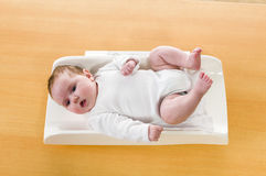 Baby on scale Stock Photography