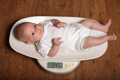 Baby on scales. Little baby on scales.Only 3450 grams Stock Photo