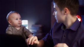 Baby scared a brother Stock Images