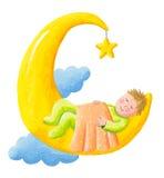 Baby schläft auf dem Mond Lizenzfreie Stockfotos