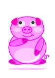 Baby-Schweinkarikatur der Illustration glückliche lächelnde kleine Stockfotos