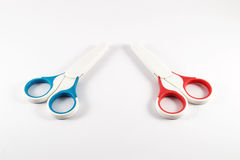 Baby scissors on white background. Baby scissors isolated on white background Stock Photos