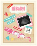 Baby Scrap Album Realistic. Coming soon baby girl realistic scrap album page with positive pregnancy test ultrasound image pink ribbon vector illustration stock illustration