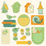 Baby Scrap with Birds and Bird Houses Stock Photography