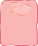 Baby scroll. Pink scroll with booties for baby girl Royalty Free Stock Photos