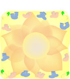 Baby scroll. A yellow scroll baby blanket with pink and blue booties and pin Royalty Free Stock Images