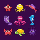 Baby Sea Creatures, Vector Illustration Set Stock Photos