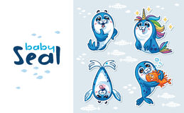 Baby Seal Sticker Collection Set Royalty Free Stock Image