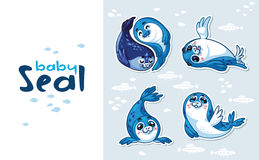Baby Seal Sticker Collection Set Royalty Free Stock Photography