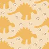 Baby seamless background with dinosaur silhouettes and swirls. Vector Royalty Free Stock Images