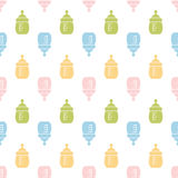 Baby seamless bottle pattern. Design for fabric, web background, cards, prints of baby goods.Vector illustration vector illustration