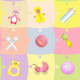 Baby seamless pattern. Seamless mosaic pattern with baby-girl theme Royalty Free Stock Photography