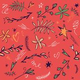 Baby seamless pattern background with cute star, leaves, flower, doodle stars. Doodle hand drawn illustration. red. Yellow, green graphic.Great for fabric stock illustration