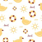 Baby seamless pattern background with duck and sun Royalty Free Stock Photography