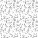 Baby seamless pattern background set. Baby doodle seamless pattern background Royalty Free Stock Photos