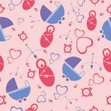 Baby seamless pattern for boy and girl. Newborn seamless pattern. Stock Image