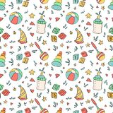 Baby seamless pattern. Children toys and items in cartoon style