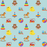 Baby seamless pattern with colored icons, for boy. Vector illustration Stock Photography