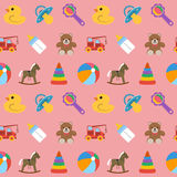 Baby seamless pattern with colored icons. Vector illustration. Stock Image