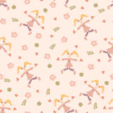 Baby seamless pattern with cute hand drawn flower and leaf. Stock Image