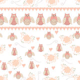 Baby seamless pattern with cute hand drawn flower. Cute pastel floral seamless pattern with owl. Hand drawn vector illustration with animals good for textile Stock Photography
