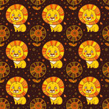 Baby seamless pattern of cute little lion. Stock Images