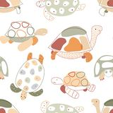 Baby seamless pattern with turtles in scandinavian style. Vector. royalty free illustration