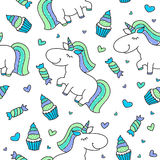 Baby seamless pattern with unicorns Stock Photo