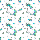Baby seamless pattern with unicorns Royalty Free Stock Photography