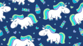 Baby seamless pattern with unicorns Stock Photos