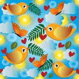 Baby seamless pattern. Vector light blue sunny cartoon background. Colorful flying. Birds, butterflies, clouds, sun, leaves, flowers, branches, love hearts royalty free illustration