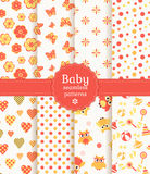 Baby Seamless Patterns In Pastel Colors. Vector Se Stock Photo