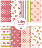 Baby seamless patterns. Vector set. Collection of baby seamless patterns in delicate white, pink and green colors. Vector illustration Royalty Free Stock Images