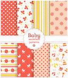 Baby seamless patterns. Vector set. Collection of baby seamless patterns in white, pink and yellow colors. Vector illustration Royalty Free Stock Images