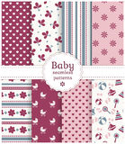 Baby seamless patterns. Vector set. Collection of baby seamless patterns in white, purple, pink and gray colors. Vector illustration Royalty Free Stock Image
