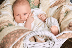 Baby with serious face. Little caucasian boy. The origins of emotional life Royalty Free Stock Photo