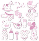 Baby set. Baby shower design elements. Set of baby icons Royalty Free Stock Photo