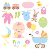 Baby Set. Illustration of baby and related items Stock Photo