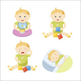 Baby set. With eating baby, playing baby, crying baby and sleeping baby Royalty Free Stock Photos
